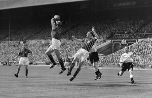 Manchester City goalkeeper Bert Trautmann collects a high ball - 1956 FA Cup Final