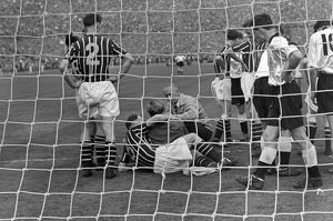 Manchester City goalkeeper Bert Trautmann lies injured - 1956 FA Cup Final