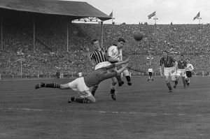 Manchester City goalkeeper Bert Trautmann makes a save - 1956 FA Cup Final
