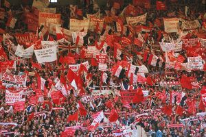 Manchester United fans show their banners in the Wembley stands during the 1977 FA
