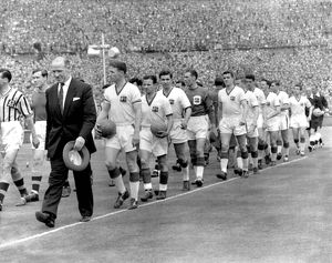 Manchester United walk out for the 1957 FA Cup Final