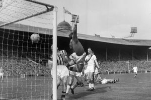 Manchester United's Tommy Taylor scores in the 1957 FA Cup Final