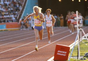 Maricica Puica wins the women's 3000m at the 1984 Los Angeles Olympics