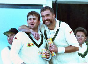 Mark Taylor & Merv Hughes celebrate winning the 1993 Ashes