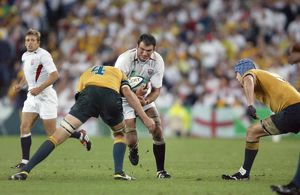 Martin Johnson takes the ball into contact during the 2003 World Cup Final