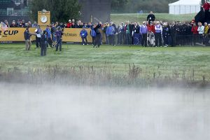 Martin Kaymer tees in the mist during the 2010 Ryder Cup