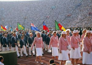 Mary Peters during the opening ceremony of the 1984 Los Angeles Olympics