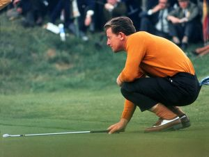 Maurice Bembridge lines up a putt during the 1969 Ryder Cup