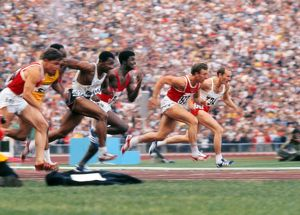 The men's 100m final at the 1972 Munich Olympics
