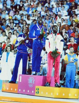 The Men's Triple Jump podium at the 1984 Los Angeles Olympics