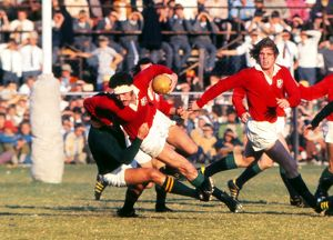 Mervyn Davies on the charge for the Lions in the 3rd Test against the Springboks in 1974