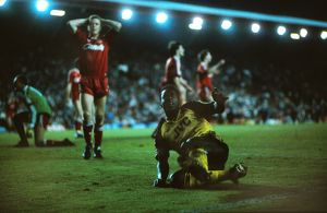 Michael Thomas celebrates his title-winning goal at Anfield in 1989
