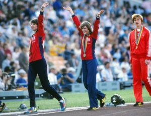 Michelle Probert (left) and Linsey MacDonald celebrate with their bronze medals -1980 Moscow Olympics