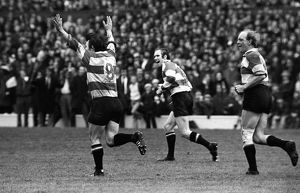 Mickie Booth celebrates his injury-time drop-goal for Gloucester in the 1972 RFU