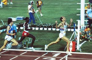 Mike McLeod wins a silver medal at the 1984 Los Angeles Olympics