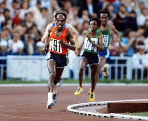Miruts Yifter rounds the final bend to win the 10,000m final at the 1980 Moscow Olympics