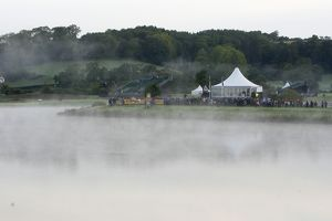 Mist rises off the lake between the 6th fairway and the 13th tee at Celtic Manor
