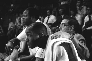 Muhamad Ali's cornermen Drew Bundini Brown, Wali Muhammad and Angelo Dundee watch