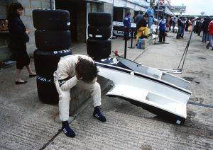 Nelson Piquet in the pits at the 1981 British Grand Prix.