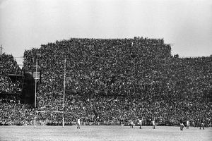 A packed stand at Ellis Park, Johannesburg, watches the last test between the Lions