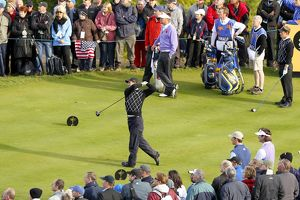 Padraig Harrington tees off at the 2010 Ryder Cup