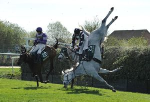 Pickamus, ridden by Will Kennedy falls at Aintree