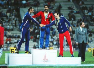 The podium for the decathlon at the 1980 Moscow Olympics