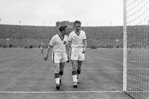 Ray Wood leaves the field after being injured in the 1957 FA Cup Final