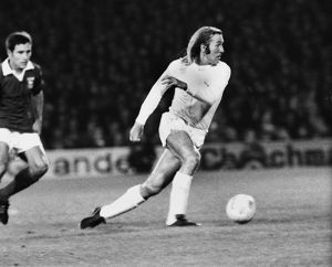 Real Madrid's Gunter Netzer takes on Ipswich in 1973
