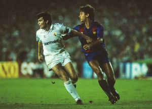 Real Madrid's Jose Antonio Camacho and Barcelona's Gary Lineker