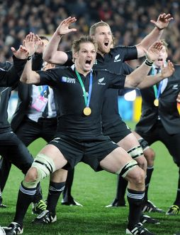 Richie McCaw leads a celebrationary Haka after the World Cup Final