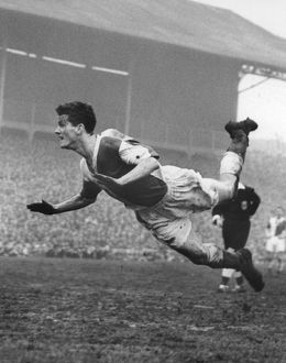 Ronnie Clayton heads a goal for Blackburn in the 1958 FA Cup