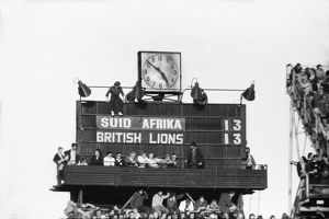 The scoreboard during the final test between South Africa & the British Lions in 1974