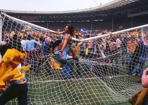 Scotland fans bring down the goalpost at Wembley - 1977 British Home Championship
