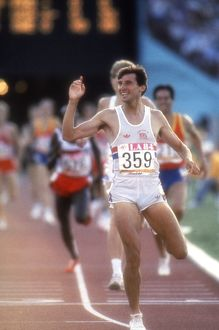 Seb Coe celebrates as he crosses the line to win 1500m gold at the 1984 Los Angeles
