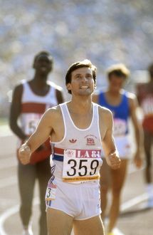 Seb Coe celebrates winning 1500m gold at the 1984 Los Angeles Olympics