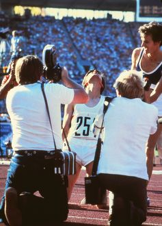 Seb Coe falls to his knees after winning 1500m gold at the 1980 Olympics