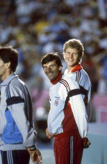 Seb Coe and Steve Cram on the 1500m medal podium at the 1984 Olympics