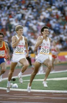 Seb Coe and Steve Cram on the home straight in the 1984 1500m Olympic final