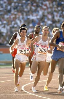 Seb Coe and Steve Ovett during the 800m final at the 1984 Los Angeles Olympics