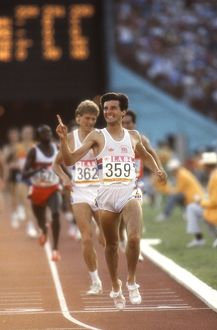 Seb Coe wins the 1500m at the 1984 Los Angeles Olympics