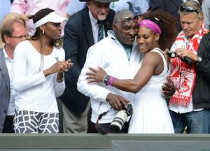 Serena Williams with father Richard and sister Venus after winning the 2012 Wimbledon