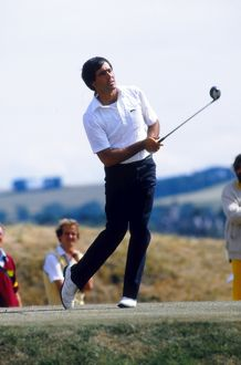 Seve Ballesteros keeps a close eye on his tee shot on his way to victory at St. Andrews in 1984