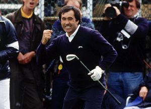 Seve Ballesteros punches the air after his chip on the way to winning the 1988 Open