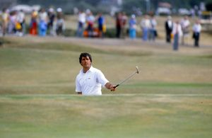 Seve Ballesteros watches his putt from off the green