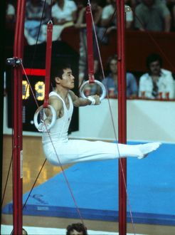 Shun Fujimoto on the rings at the 1976 Montreal Olympics