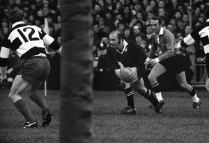 Sid Going on the ball for the All Blacks against the Barbarians in 1973