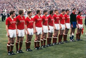 The Soviet Union team line up before the final of Euro 72