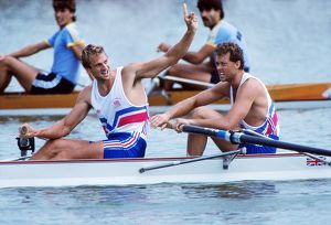 Steve Redgrave celebrates victory in the coxless pairs at the 1988 Seoul Olympics
