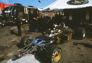 The Team Lotus garage at the 1973 British Grand Prix